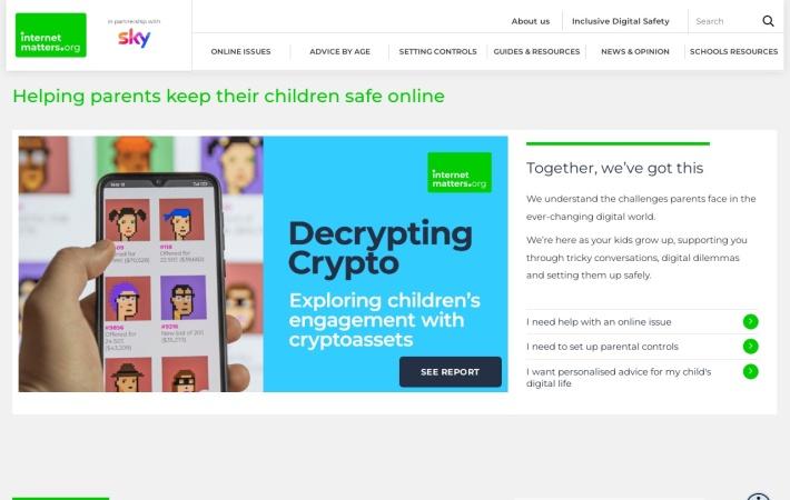 Screenshot of www.internetmatters.org