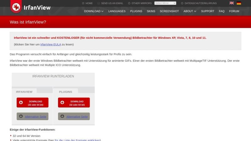 Screenshot von www.irfanview.com