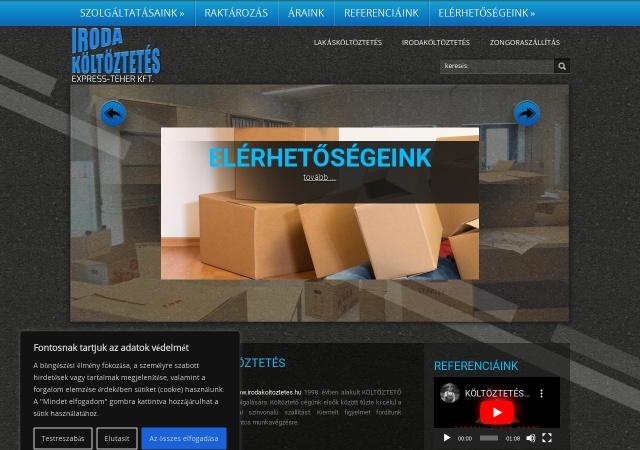 Screenshot of www.irodakoltoztetes.hu