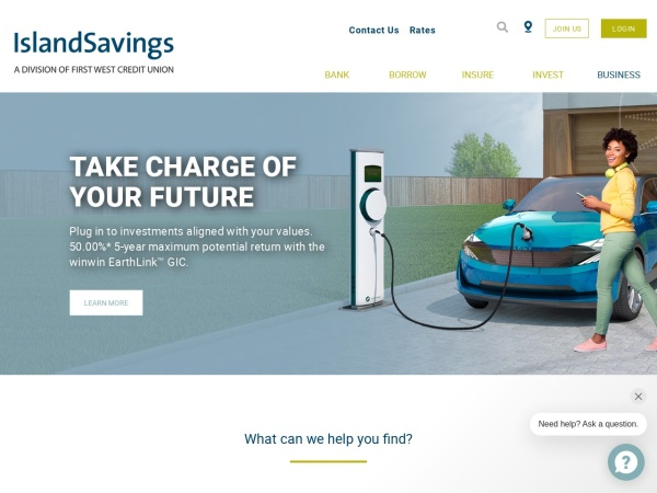 Screenshot of www.islandsavings.ca