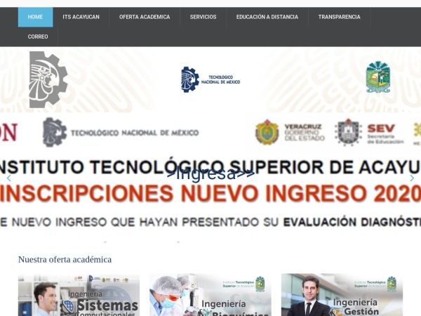 Screenshot of www.itsacayucan.edu.mx