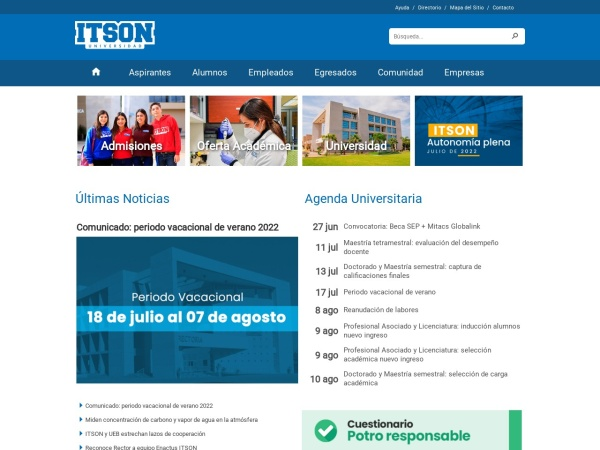 Screenshot of www.itson.mx