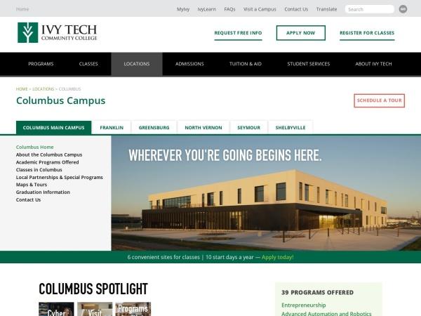 Screenshot of www.ivytech.edu