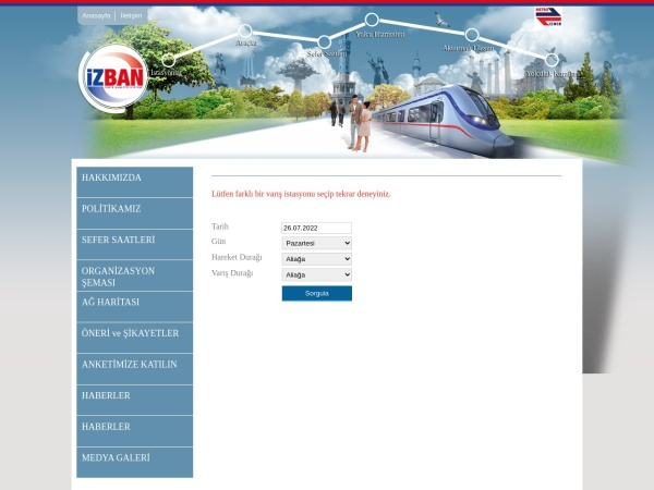 Screenshot of www.izban.com.tr