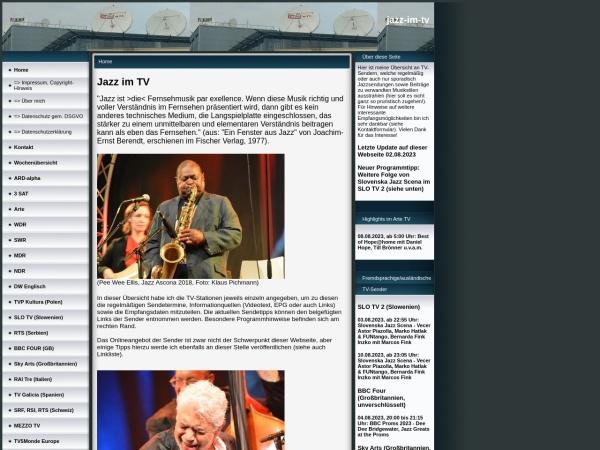 Screenshot von www.jazz-im-tv.de