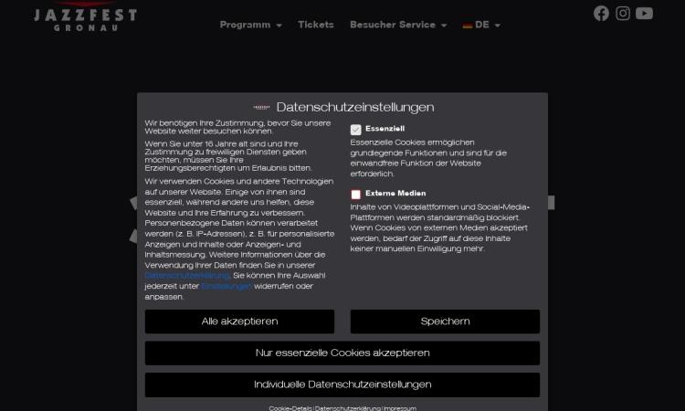 Screenshot von www.jazzfest.de