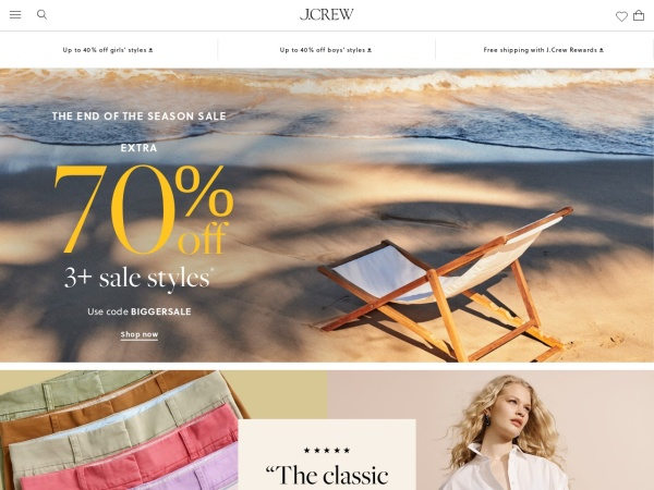 Screenshot of www.jcrew.com