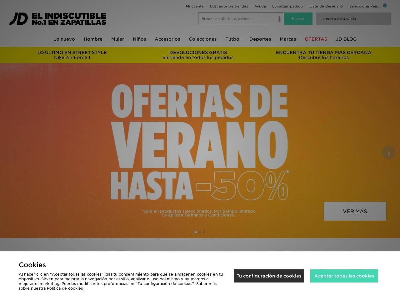 Captura de pantalla de www.jdsports.es