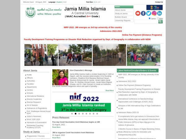 Screenshot of www.jmi.ac.in