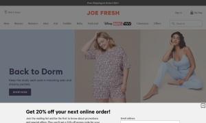 JOE FRESH ウェブサイトサムネイル
