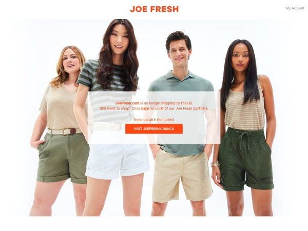 Screenshot of www.joefresh.com