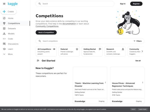 Screenshot of www.kaggle.com
