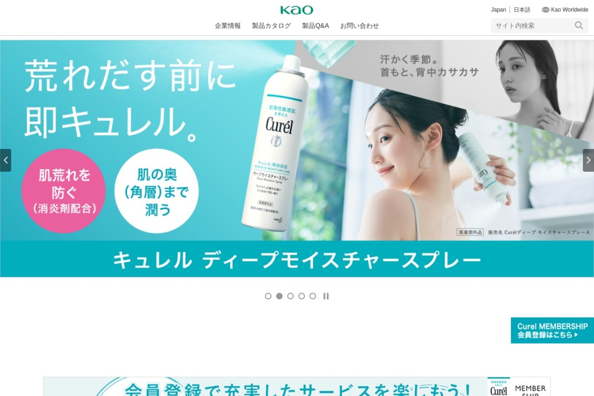 Screenshot of www.kao.co.jp