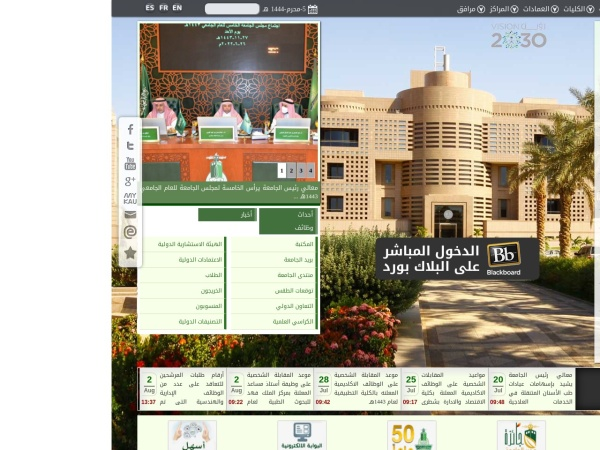 Screenshot of www.kau.edu.sa