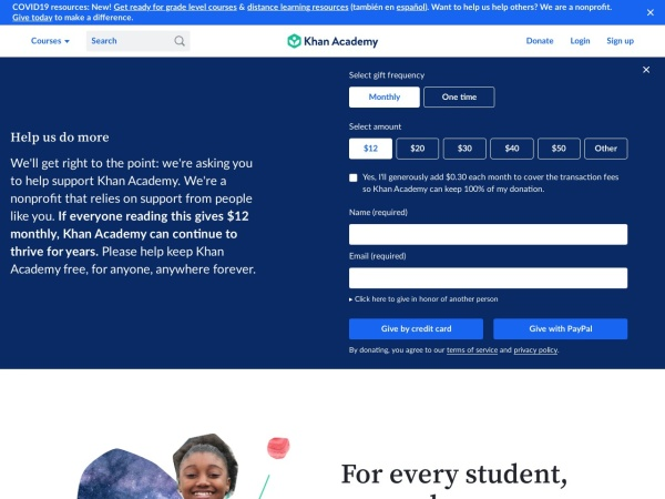Screenshot of www.khanacademy.org