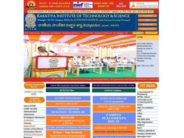 Screenshot of www.kitsw.ac.in