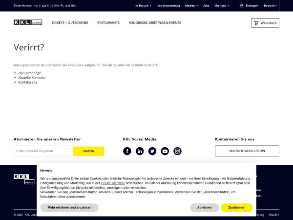 Screenshot von www.kkl-luzern.ch
