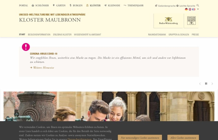 Screenshot von www.kloster-maulbronn.de