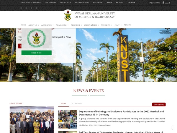 Screenshot of www.knust.edu.gh