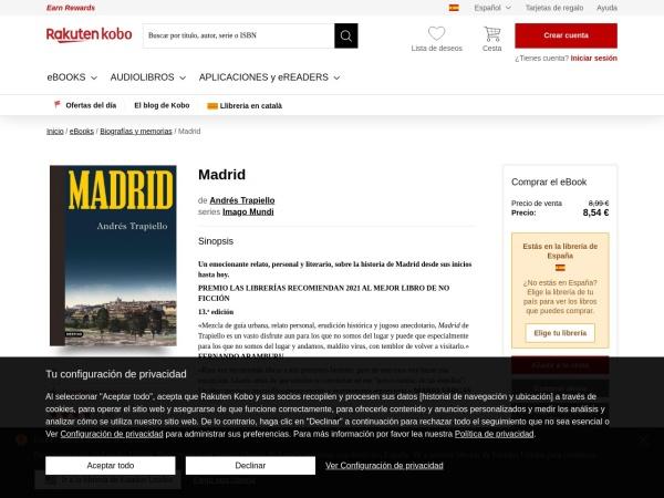Captura de pantalla de www.kobo.com