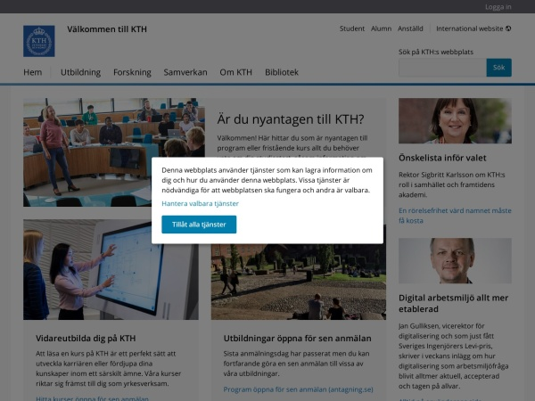 Screenshot of www.kth.se