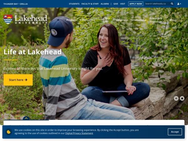 Screenshot of www.lakeheadu.ca