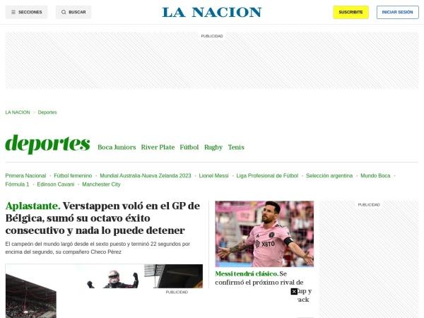 Captura de pantalla de www.lanacion.com.ar