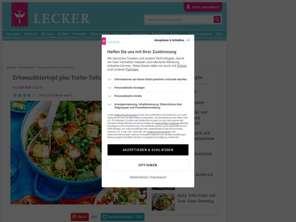 Screenshot von www.lecker.de