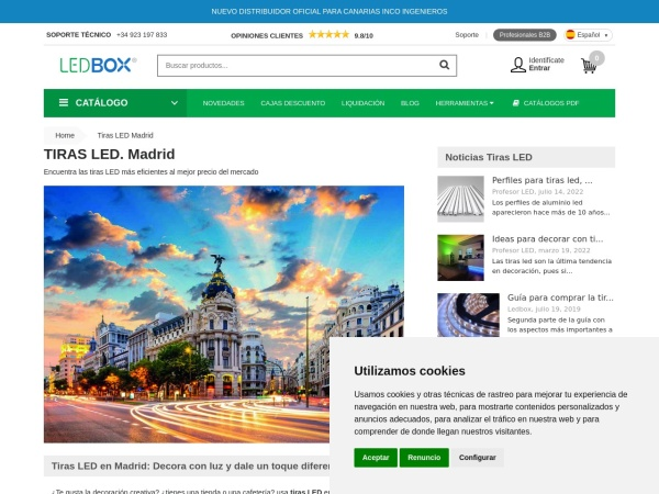 Captura de pantalla de www.ledbox.es