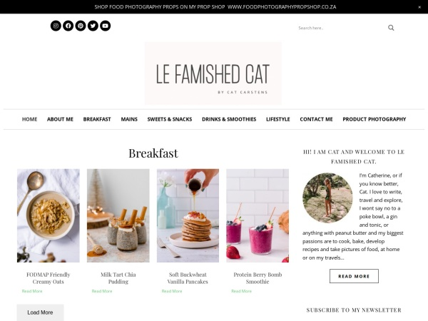 Screenshot of www.lefamishedcat.co.za