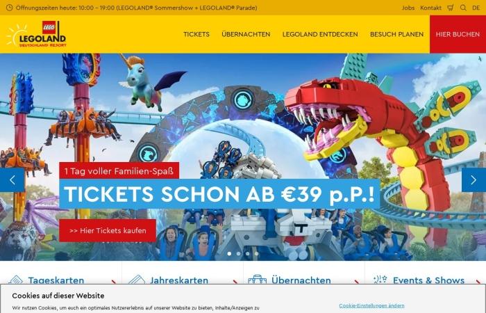 Screenshot von www.legoland.de