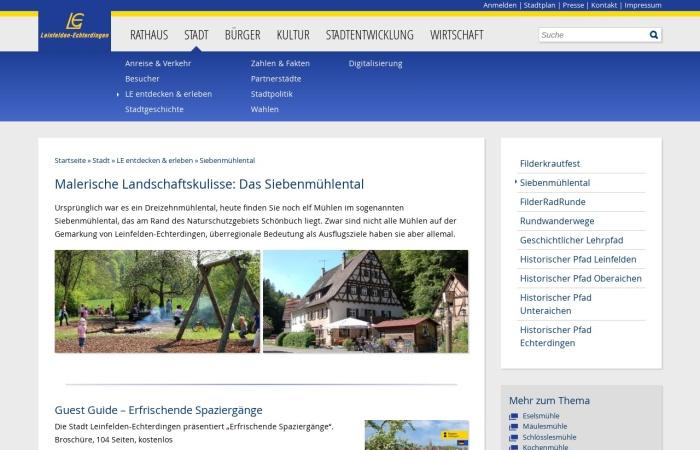Screenshot von www.leinfelden-echterdingen.de