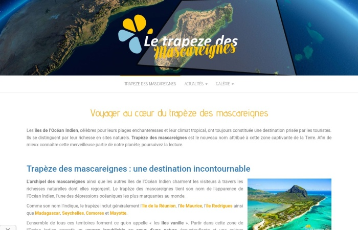 Screenshot of www.letrapezedesmascareignes.com