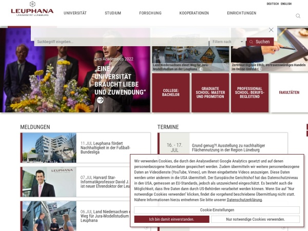 Screenshot of www.leuphana.de