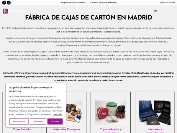 Captura de pantalla de www.lfgcartonaje.com
