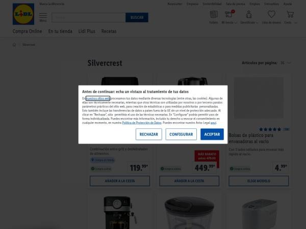 Captura de pantalla de www.lidl.es