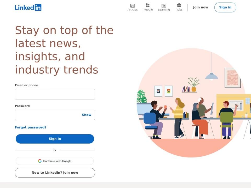 Screenshot of www.linkedin.com