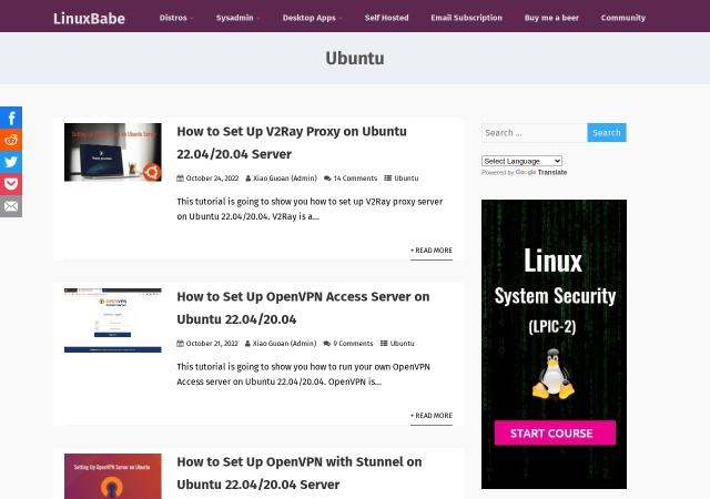 Screenshot of www.linuxbabe.com