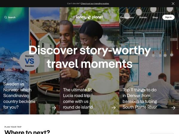 Screenshot of www.lonelyplanet.com