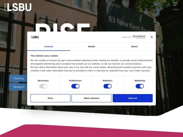 Screenshot of www.lsbu.ac.uk