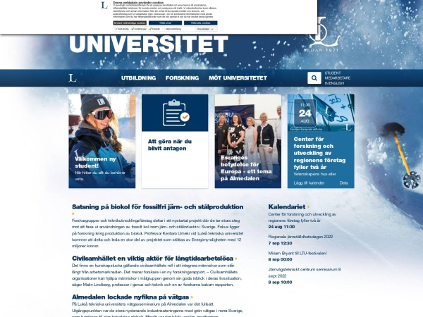 Screenshot of www.ltu.se