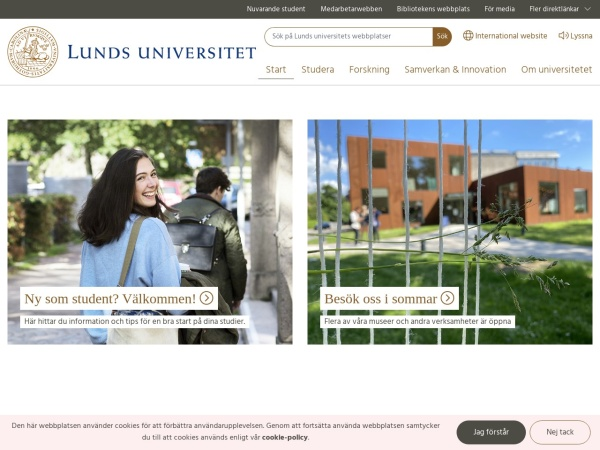 Screenshot of www.lu.se