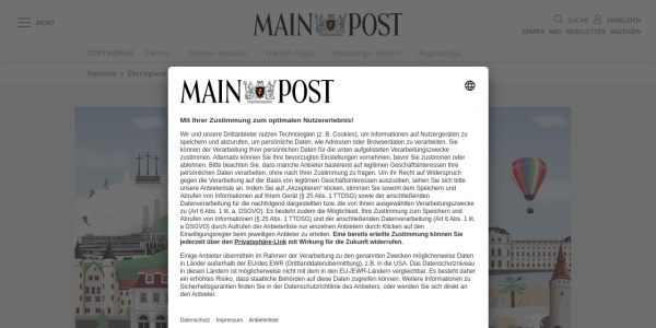 Screenshot of www.mainpost.de