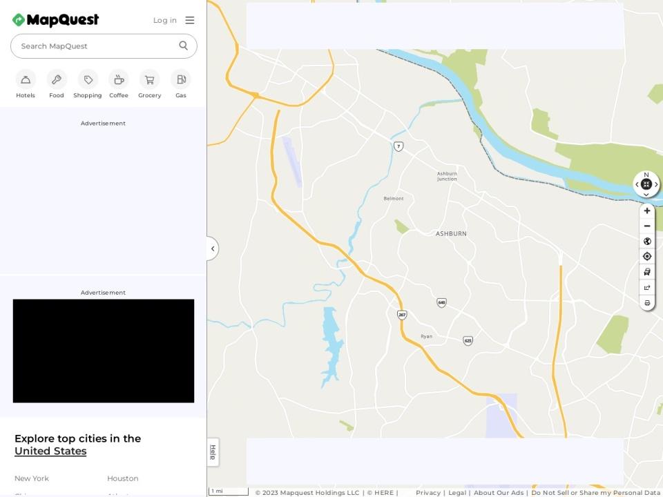 Screenshot of www.mapquest.com