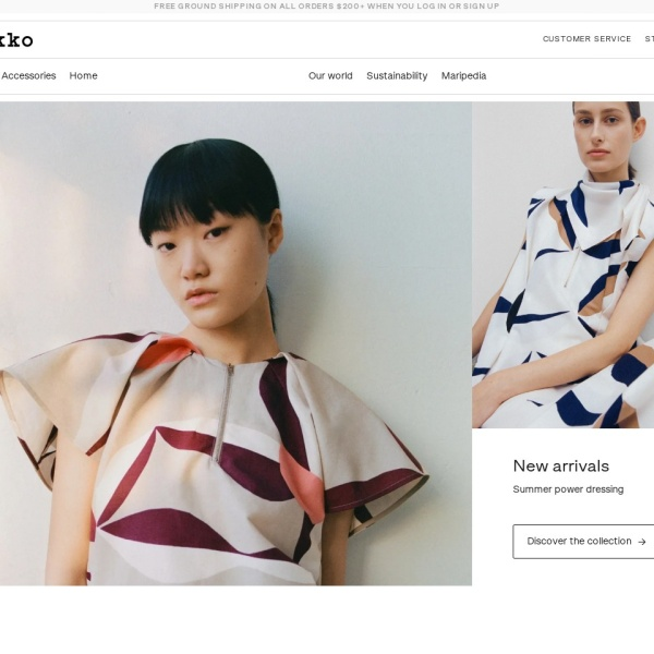 Screenshot of www.marimekko.com