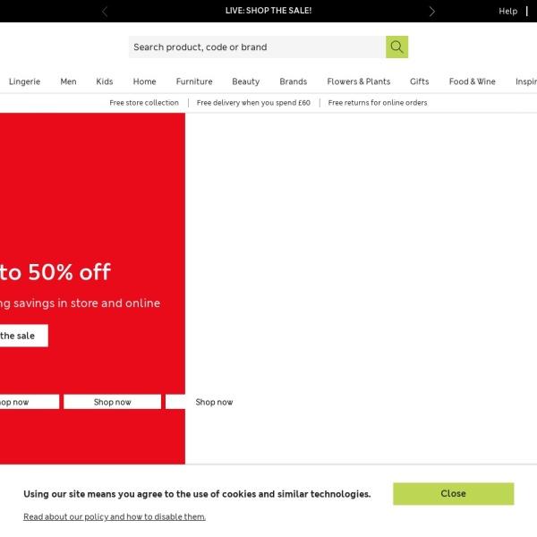 Screenshot of www.marksandspencer.com