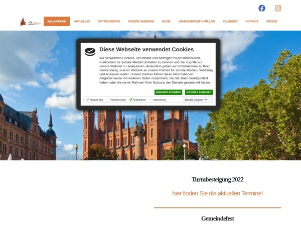 Screenshot of www.marktkirche-wiesbaden.de