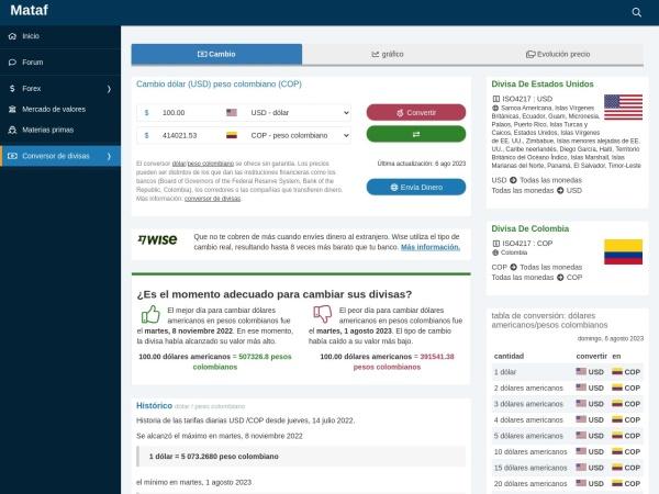 Captura de pantalla de www.mataf.net
