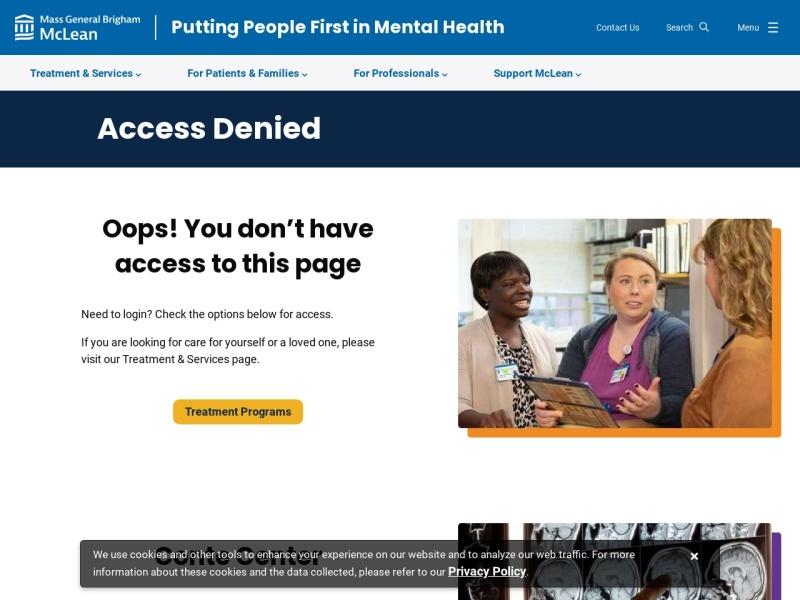 Screenshot of www.mcleanhospital.org
