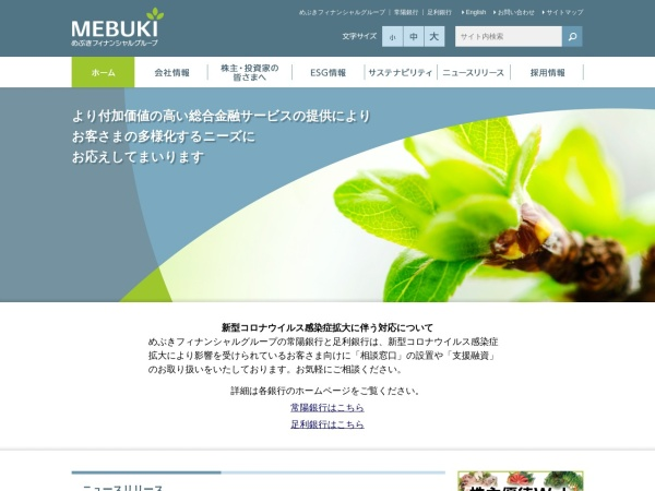 Screenshot of www.mebuki-fg.co.jp
